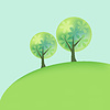 Vector clipart: Abstract hill landscape with two trees