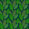 Seamless leaves pattern on dark blue background