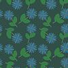 Vector clipart: Seamless blue flowers on dark blue background