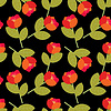 Vector clipart: Seamless red flowers on black