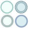 Векторный клипарт: Круглые наклейки с декоративными границами