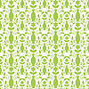 Векторный клипарт: Бесшовные зеленый рисунок дамасской с вазами