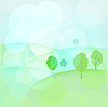 Vector clipart: Landscape with trees and hills