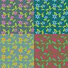 Vector clipart: Decorative seamless floral set four colorways