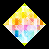 Vector clipart: Multicolored rhombus design on black