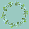 Vector clipart: Floral decorative wreath with light blue flowers