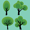 Vector clipart: Four abstract decorative summer trees