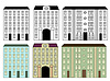 Vector clipart: City buildings set colored and silhouettes