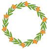 Векторный клипарт: Оранжевые цветы декоративная рамка
