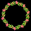 Decorative floral wreath on black background