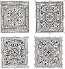 set of old square decorative patterns