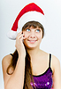ID 3214377 | 전화와 산타 모자와 함께 행복 한 미소 소녀 | 높은 해상도 사진 | CLIPARTO