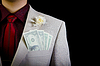 Dollars in pocket of groom`s wedding suit | Stock Foto