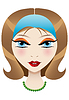 Vector clipart: Portrait of an attractive girl with blue eyes