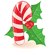 Vector clipart: Christmas candy and branch of mistletoe