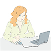 Vector clipart: young woman uses laptop