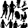 set of different silhouettes people