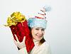 Фото 300 DPI: Портрет веселая молодая женщина в смешной