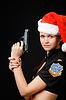 Photo 300 DPI: sexy girl cop with gun
