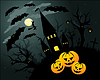 Vector clipart: Halloween card with with, bats and pumpkins