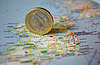 Irish euro coin on map | Stock Foto