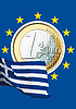 Photo 300 DPI: euro coin and Greek national flag