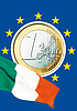 Photo 300 DPI: euro coin and Italian flag