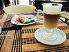 Breakfast with coffee latte macchiato and croissants | Stock Foto