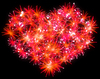 Valentines Day red Fireworks heart shape | Stock Illustration