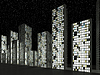 City: Abstract skyscrapers and starry sky | Stock Illustration