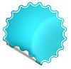 Photo 300 DPI: Blue bent round sticker or label