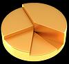 Photo 300 DPI: Glossy golden pie chart or circular graph