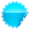 Photo 300 DPI: Blue round bent sticker or label with spots