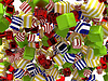 Photo 300 DPI: Colorful Abstract cubic shapes or bonbons