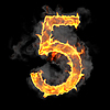 Burning and flame font 5 numeral | Stock Illustration