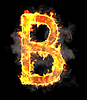 Burning and flame font B letter | Stock Illustration