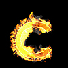 Burning and flame font C letter | Stock Illustration