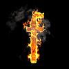 Burning and flame font F letter | Stock Illustration