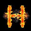 Burning and flame font H letter | Stock Illustration