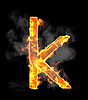 Burning and flame font K letter | Stock Illustration