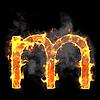 Burning and flame font M letter | Stock Illustration