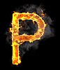 Burning and flame font P letter | Stock Illustration