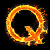 Photo 300 DPI: Burning and flaming initial letter Q