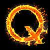 Brennender und flammender Buchstabe Q | Stock Illustration