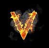 Burning and flame font V letter | Stock Illustration