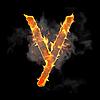 Burning and flame font Y letter | Stock Illustration