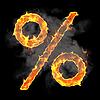 Burning and flame font percent symbol | Stock Illustration
