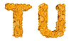 Honey font T and U letters | Stock Illustration