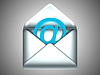 Photo 300 DPI: Check your Email - opened silver envelope with at symbol