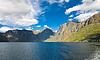 노르웨이어 자연입니다. 피오르드와 산 | Stock Foto